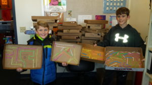 picture of students' marble maze projects