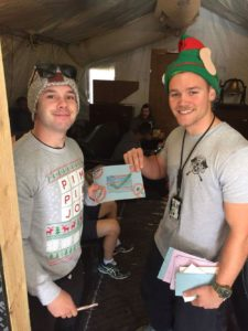 Servicemen receiving holiday cards