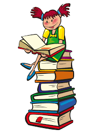 clipart of stacked books with sitting child on top