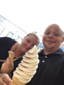 picture of staff members enjoying ice cream from summer reading challenge