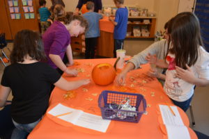 picture of parent and 2nd grade students doing a pumpkin investigation