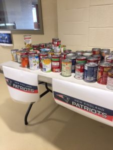 Cans of soup on a table