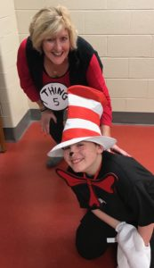 Picture of student and teacher dressed for Dr. Seuss day