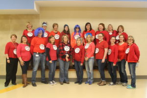Picture of staff dressed up as Dr. Seuss things.