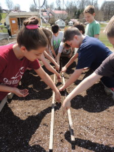 Kids planting seeds in a garden bed