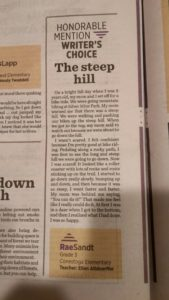 Picture of article written by student and published in the newspaper