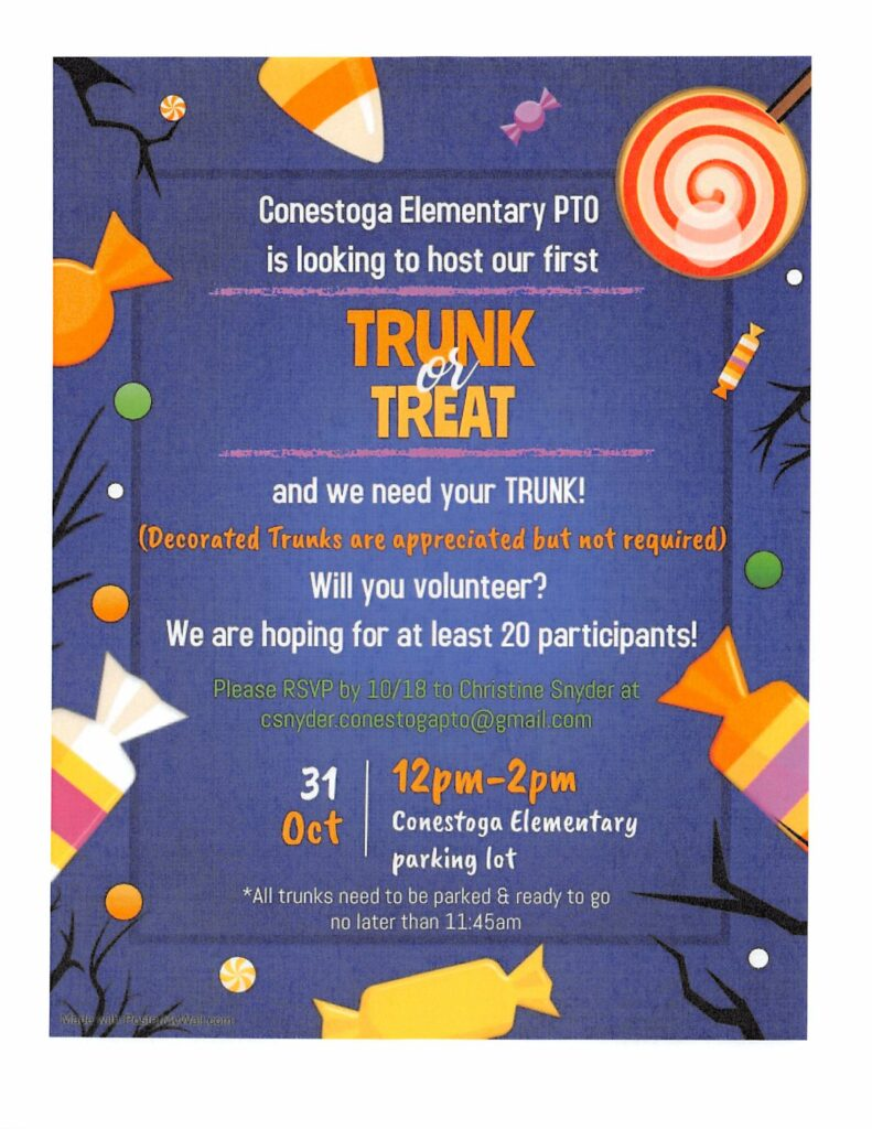 Trunk or Treat Oct. 31 12pm-2pm